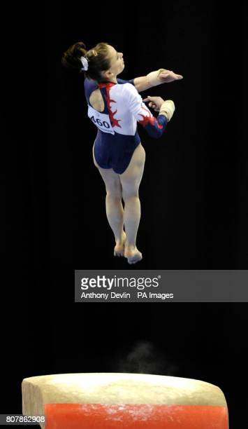 France's Pauline Morel competes on the vault during the Women's Senior Qualification of the European Gymnastics Championships at the National Indoor...