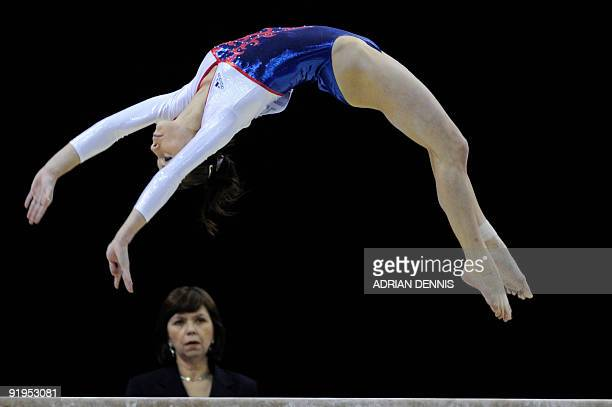 France's Pauline Morel performs in the balance beam event in the women's individual allaround final during the Artistic Gymnastics World...