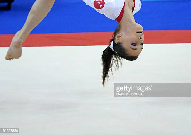 France's Pauline Morel performs in the women's floor event in the women's individual allaround final during the Artistic Gymnastics World...