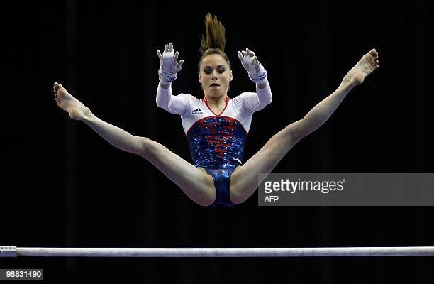 France's Pauline Morel performs on the uneven bars during the women seniors team final in the European Artistic Gymnastics Championships 2010 at the...