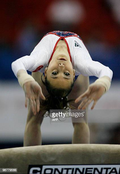 France's Pauline Morel performs on the vault during the women seniors team final in the European Artistic Gymnastics Championships 2010 at the...