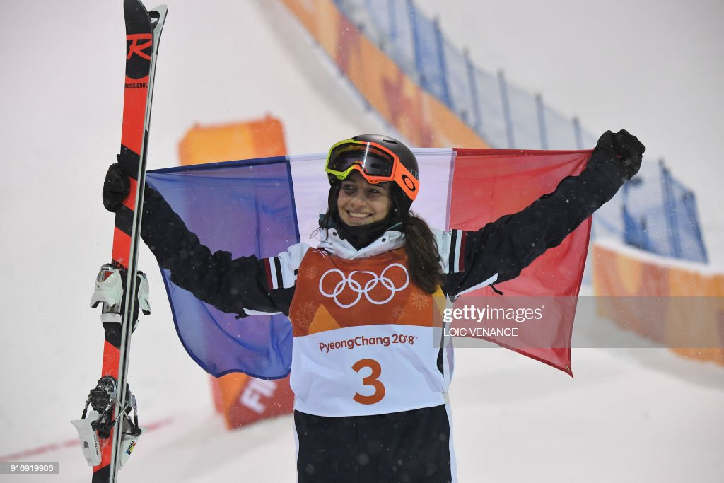 France's Perrine Laffont celebrates after the women's moguls final event during the Pyeongchang 2018 Winter Olympic Games at the Phoenix Park in Pyeongchang on February 11, 2018. /