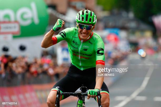 France's Pierre Rolland of team CannondaleDrapac celebrates as he crosses the finish line to win the 17th stage of the 100th Giro d'Italia Tour of...