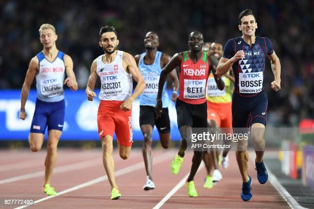 TOPSHOT France's PierreAmbroise Bosse beats Poland's Adam Kszczot and Kenya's Kipyegon Bett to the line in the final of the men's 800m athletics...