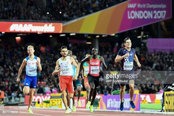 France's Pierre-Ambroise Bosse beats Poland's Adam Kszczot and Kenya's Kipyegon Bett to the line in the final of the men's 800m athletics event at...