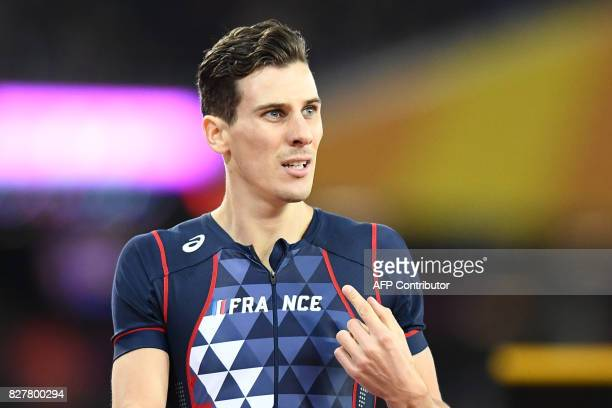 France's Pierre-Ambroise Bosse celebrates after his victory in the final of the men's 800m athletics event at the 2017 IAAF World Championships at...
