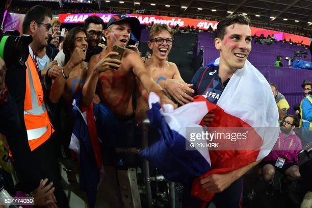 France's Pierre-Ambroise Bosse celebrates after winning the final of the men's 800m athletics event at the 2017 IAAF World Championships at the...