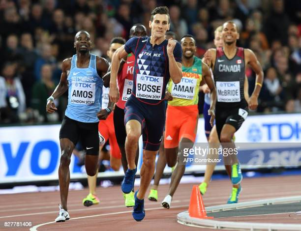 France's Pierre-Ambroise Bosse leads in the final of the men's 800m athletics event at the 2017 IAAF World Championships at the London Stadium in...