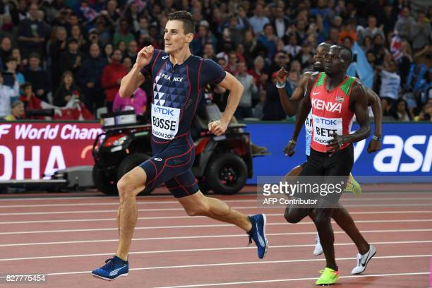 France's Pierre-Ambroise Bosse leads Kenya's Kipyegon Bett in the men's 800m athletics event at the 2017 IAAF World Championships at the London...