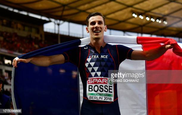 France's PierreAmbroise Bosse poses after the men's 800m final race during the European Athletics Championships at the Olympic stadium in Berlin on...