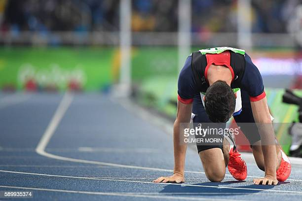 France's Pierre-Ambroise Bosse reacts after he competed in the Men's 800m Final during the athletics event at the Rio 2016 Olympic Games at the...