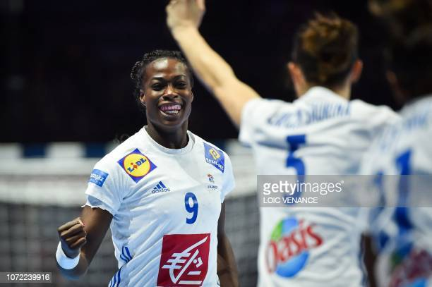 France's pivot Astride Ngouan celebrates a goal during the Women Euro 2018 handball Championships Group 1 main round match between Serbia and France,...