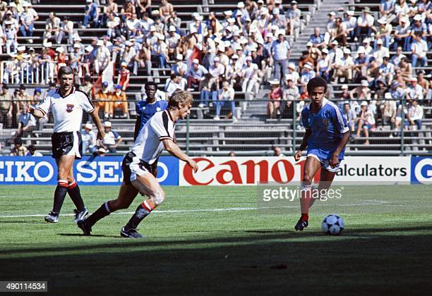 France's player runs with the ball during the 1982 World Cup football match between Austria and France on June 28 1982 in Madrid AFP PHOTO