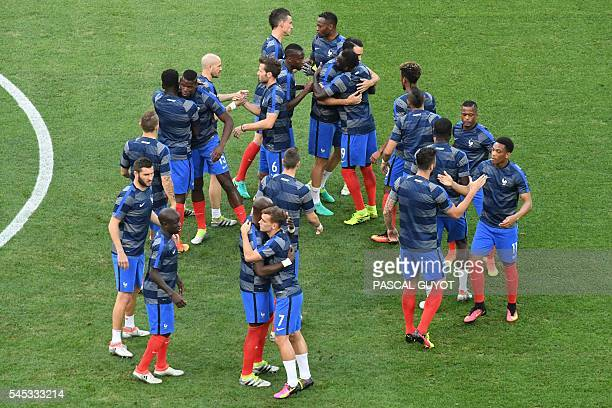 France's players are pictured ahead the Euro 2016 semifinal football match between Germany and France at the Stade Velodrome in Marseille on July 7...
