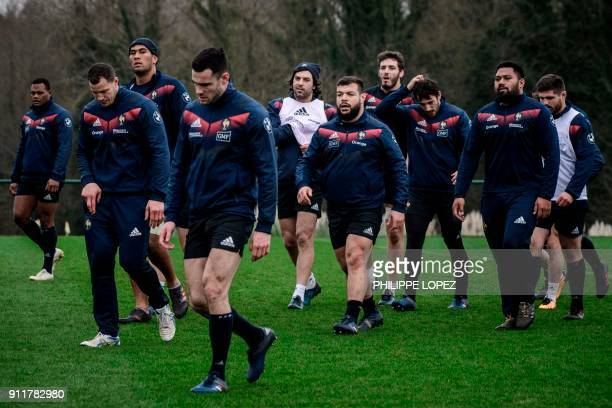 France's players arrive for a training session on January 29 2018 at the team's training camp in Marcoussis south of Paris ahead of the Six Nations...