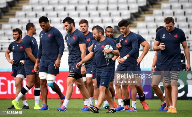 France's players attend a training session at the Tokyo stadium in Tokyo, on September 19 ahead of the Japan 2019 Rugby World Cup.
