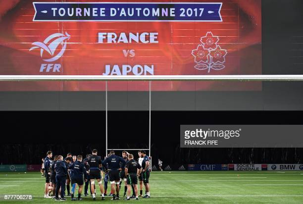 France's players attend a training session at the U Arena in Nanterre near Paris on November 23 two days ahead of a friendly rugby union match...