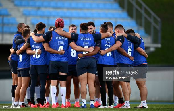 France's players attends a training session on October 21 2020 in Marcoussis south of Paris as part of the preparation of the international rugby...