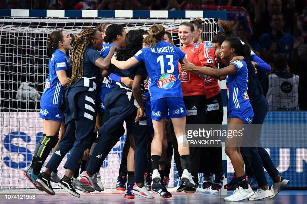 TOPSHOT France's players celebrate after winning the EHF EURO 2018 European Women's Handball Championship Final match between Russia and France at...