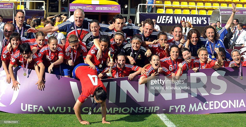 France's players celebrate their victory against England after the UEFA Women's Under-19 European Championship final match between England and France in Skopje at Filip II Arena on June 5, 2010. France are the new European championS.