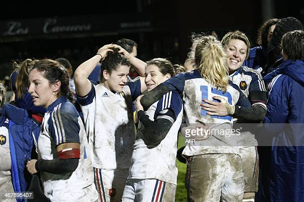 France's players celebrate their victory over Italy at the en d of the Women's Six Nations rugby union match France vs Italy at the Stade Ernest...