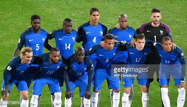 France's players forward Antoine Griezmann forward Alexandre Lacazette defender N'golo Kante defender Corentin Tolisso defender Lucas Digne and...