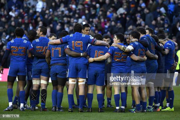France's players huddle after the Six Nations international rugby union match between Scotland and France at Murrayfield Stadium in Edinburgh on...