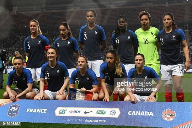 France's players midfielder Amandine Henry defender Amel Majri defender Wendie Renard defender Griedge Mbock Bathy goalkeeper Sarah Bouhaddi forward...