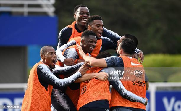 TOPSHOT France's players react during a training session in ClairefontaineenYvelines on June 4 as part of the team's preparation for the upcoming...