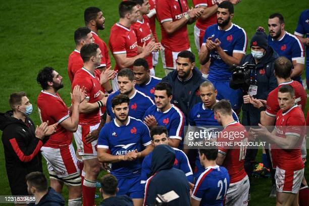 France's players reacts after winning the Six Nations rugby union tournament match between France and Wales on March 20 at the Stade de France in...