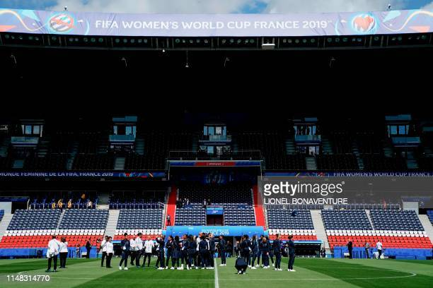 France's players take part in a field recognition at the Parc des Princes stadium in Paris, on June 6, 2019 on the eve of the opening match France vs...