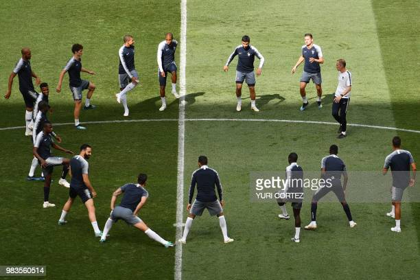 France's players take part in a training session at Luzhniki Stadium in Moscow on June 25 ahead of the Russia 2018 World Cup Group C football match...