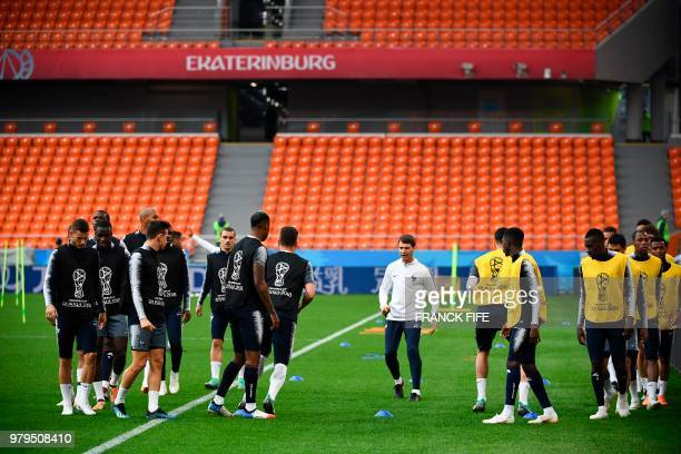 France's players take part in a training session at the Ekaterinburg Arena in Ekaterinburg on June 20 2018 on the eve of the Russia 2018 World Cup...