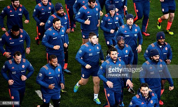 TOPSHOT France's players take part in a training session on January 24 2017 in Marcoussis south of Paris as part of the preparation of the Six...