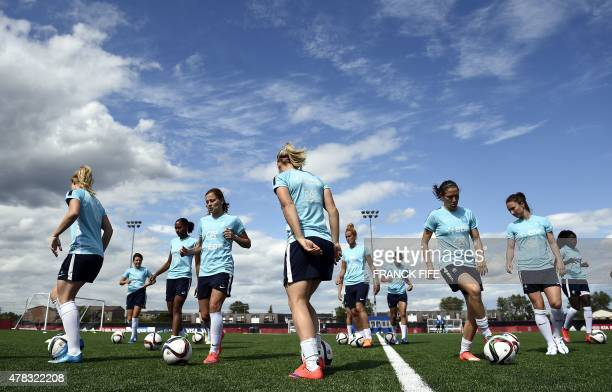 France's players train in Laval, Canada, on June 24 two days ahead the quarterfinal football match between Germany and France during the FIFA Women's...