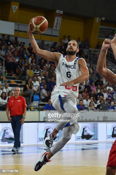France's point guard Antoine Diot scores during the friendly basketball match France versus Croatie ahead of the FIBA EuroBasket 2017 championship on...