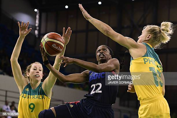 France's point guard Olivia Epoupa jumps for a basket between Australia's forward Natalie Burton and Australia's shooting guard Erin Phillips during...