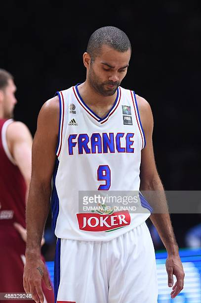 France's point guard Tony Parker reacts during the round of 8 basketball match between France and Latvia at the EuroBasket 2015 in Lille northern...