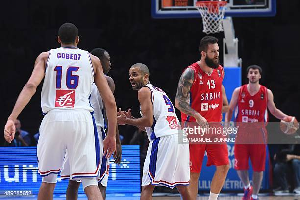 France's point guard Tony Parker reacts during the third place basketball match between France and Serbia at the EuroBasket 2015 in Lille northern...