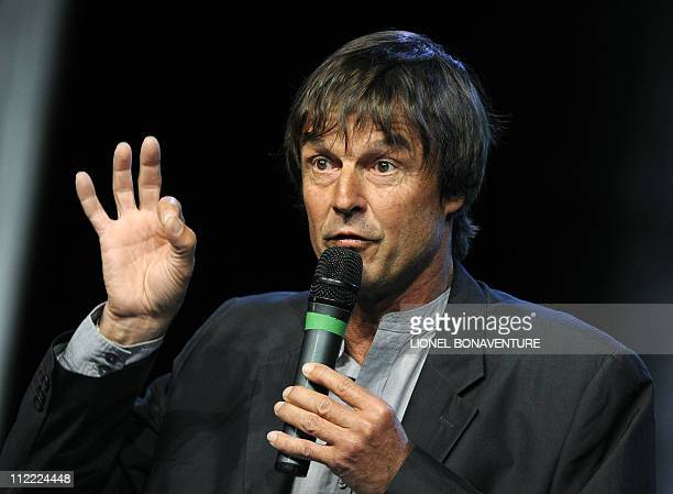 France's popular Green campaigner and TV host Nicolas Hulot addresses journalists on April 13, 2011 in Sevran, Paris suburb, to announce his...
