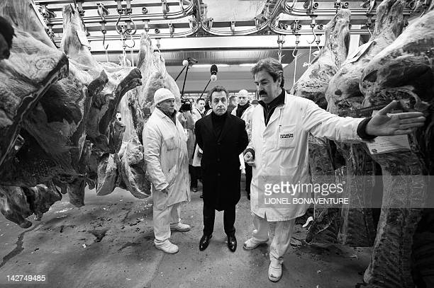 France's President and Union for a Popular Movement candidate for 2012 presidential election Nicolas Sarkozy listens to a butcher as he visits the...