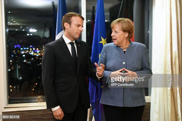 France's President Emmanuel Macron and Germany's Chancellor Angela Merkel meet on the eve of the European Union Digital Summit in Tallinn on...