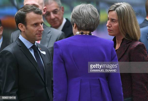 TOPSHOT France's President Emmanuel Macron Britain's Prime minister Theresa May and EU's High representative for foreign affairs and security policy...