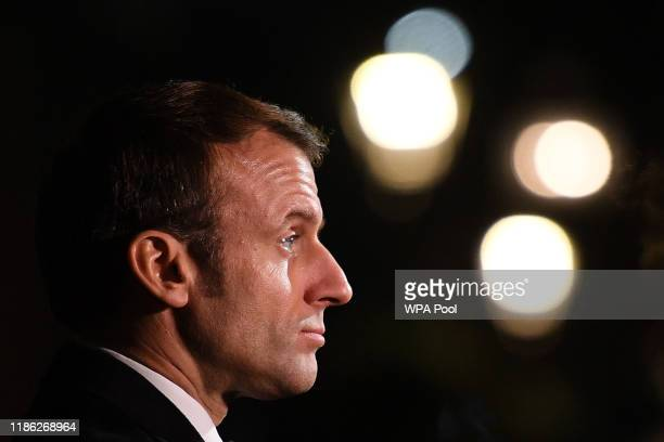 France's President Emmanuel Macron leaves following a meeting with UK Prime Minister Boris Johnson at 10 Downing Street on December 3 2019 in London...