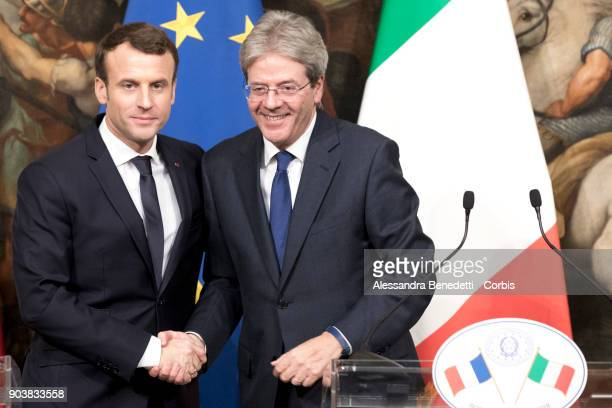 France's President Emmanuel Macron meets Italy's Prime Minister Paolo Gentiloni at Chigi Palace on January 11 2018 in Rome Italy