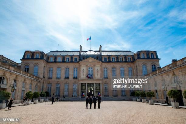France's President Emmanuel Macron Minister for European Affairs Marielle de Sarnez Prime Minister Edouard Philippe and Foreign Affairs Minister...
