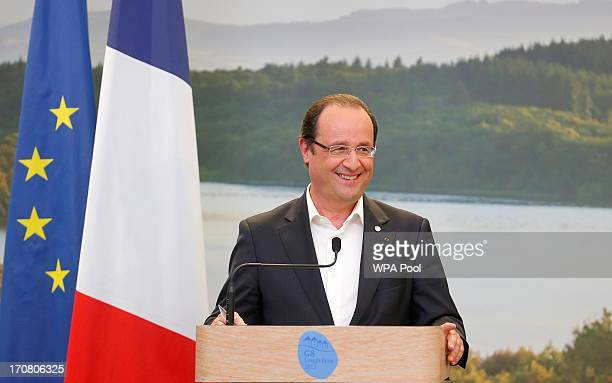 France's President Francois Hollande attends a press conference on the second day of the G8 summit venue of Lough Erne on June 18 2013 in Enniskillen...