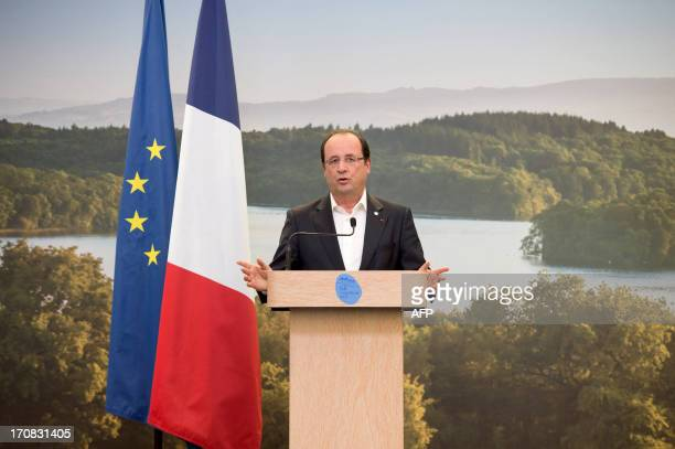France's President Francois Hollande speaks during a press conference at the end of the G8 summit at the Lough Erne resort near Enniskillen in...
