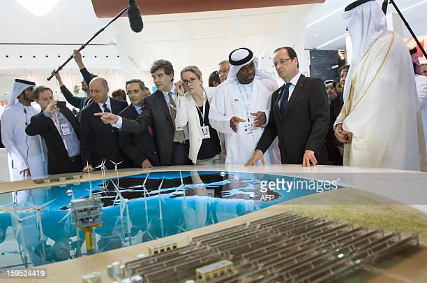 France's President Francois Hollande Sultan Ahmed alJaber chief executive officer of the Abu Dhabi Future Energy Company French Ecology Minister...