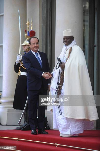 France's President Francois Hollande welcomes his Gambia's counterpart Yahya Jammeh for the Peace And Safety In Africa Summit at Elysee Palace on...